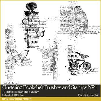 Clustering Bookshelf Brushes And Stamps No. 01 Digital Art - Digital Scrapbooking Kits