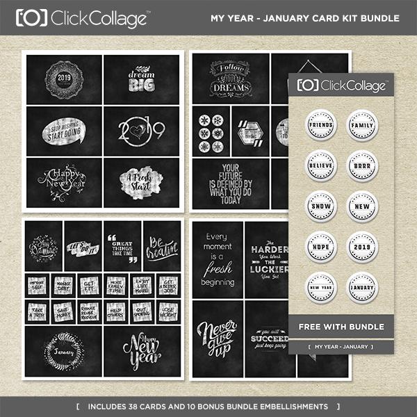 My Year - January Card Kit Bundle Digital Art - Digital Scrapbooking Kits