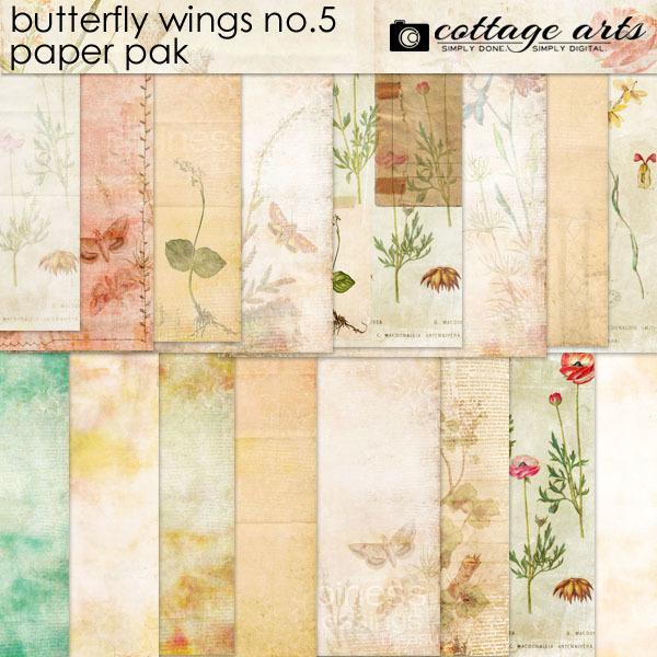 Butterfly Wings 5 Paper Pak Digital Art - Digital Scrapbooking Kits