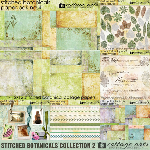 Stitched Botanicals Collection 2 Digital Art - Digital Scrapbooking Kits