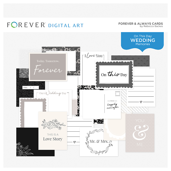 Forever & Always Cards Digital Art - Digital Scrapbooking Kits
