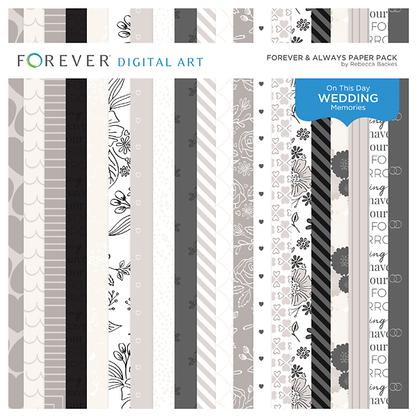 Forever & Always Paper Pack Digital Art - Digital Scrapbooking Kits