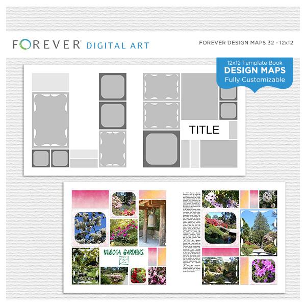 Forever Design Maps 32 12x12 Digital Art - Digital Scrapbooking Kits