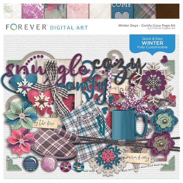 Winter Days - Comfy Cozy Page Kit Digital Art - Digital Scrapbooking Kits