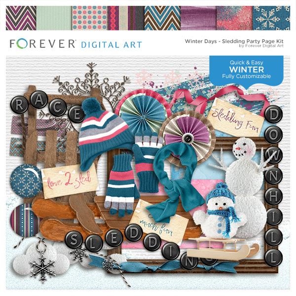 Winter Days - Sledding Party Page Kit Digital Art - Digital Scrapbooking Kits