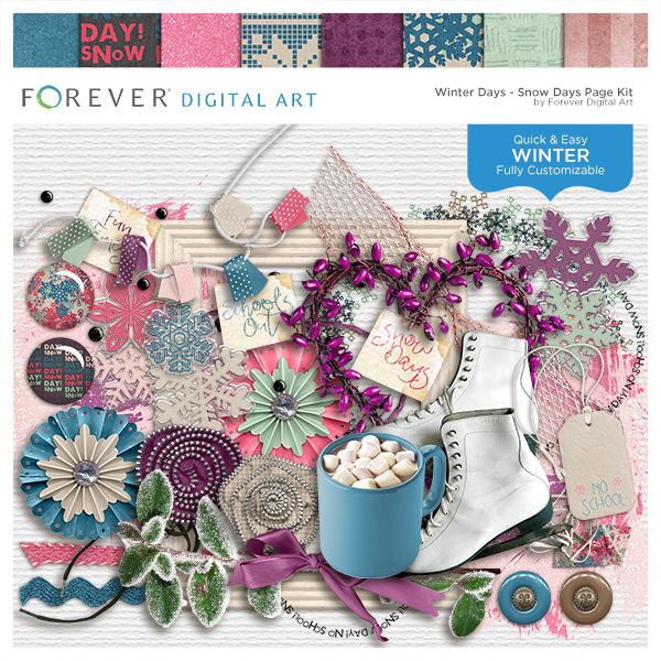 Winter Days - Snow Days Page Kit Digital Art - Digital Scrapbooking Kits