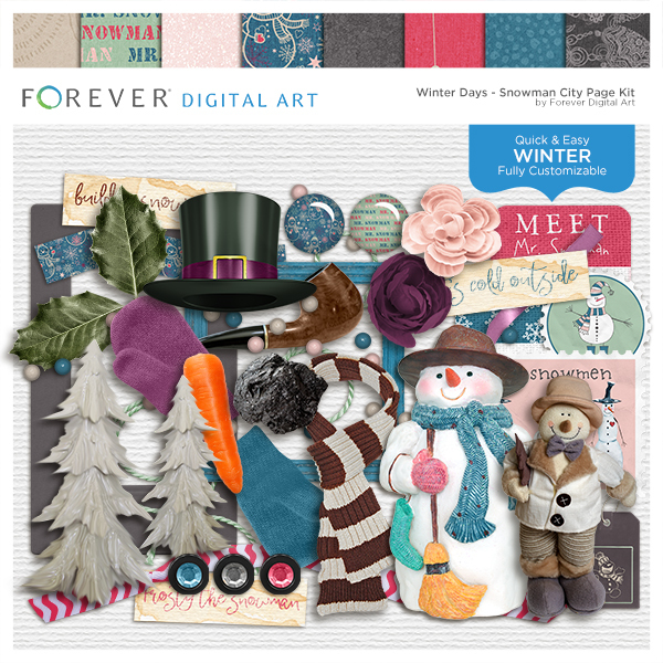 Winter Days - Snowman City Page Kit Digital Art - Digital Scrapbooking Kits