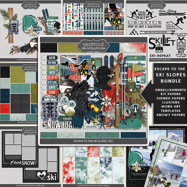 Escape To The Ski Slopes Bundle Digital Art - Digital Scrapbooking Kits
