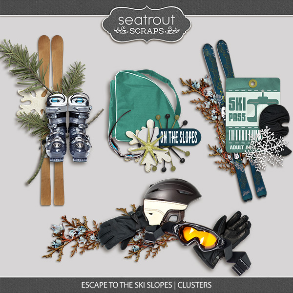 Escape To The Ski Slopes Clusters Digital Art - Digital Scrapbooking Kits