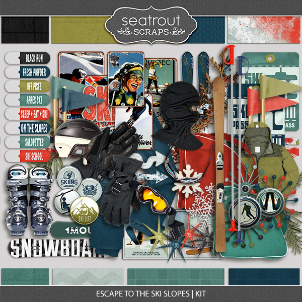 Escape To The Ski Slopes Kit Digital Art - Digital Scrapbooking Kits
