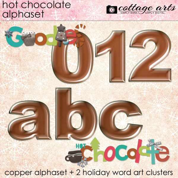 Hot Chocolate Alphaset Digital Art - Digital Scrapbooking Kits