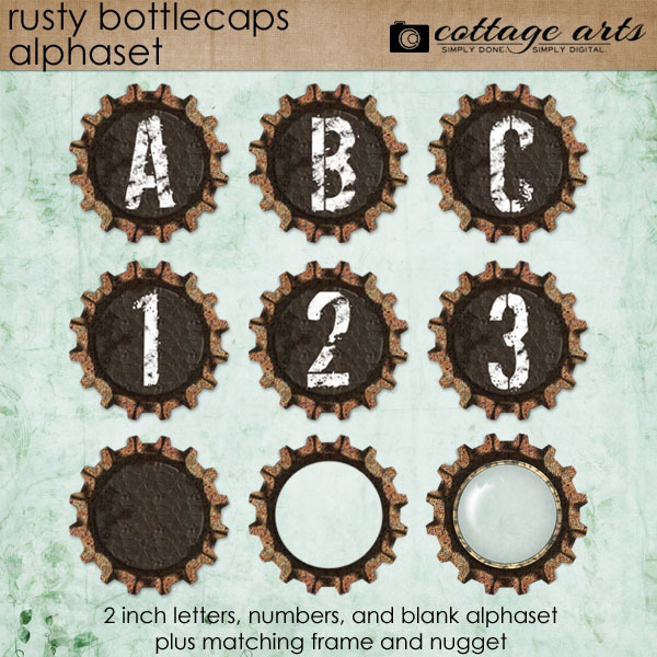 Rusty Bottlecaps Alphaset Digital Art - Digital Scrapbooking Kits