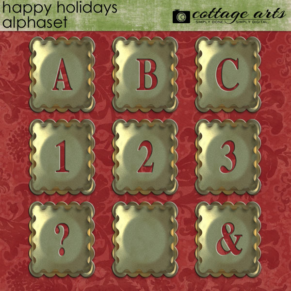 Happy Holidays Alphaset Digital Art - Digital Scrapbooking Kits
