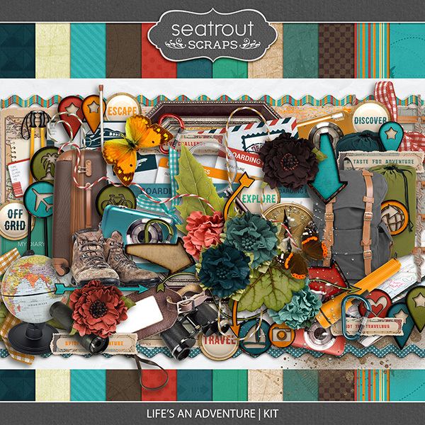Life's An Adventure Kit Digital Art - Digital Scrapbooking Kits
