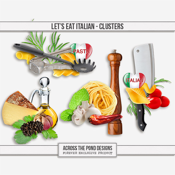 Let's Eat Italian - Clusters Digital Art - Digital Scrapbooking Kits