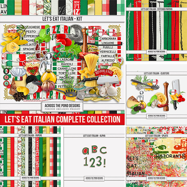 Let's Eat Italian - Complete Collection Digital Art - Digital Scrapbooking Kits