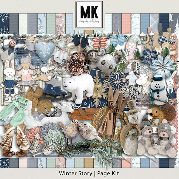 Winter Story - Page Kit Digital Art - Digital Scrapbooking Kits