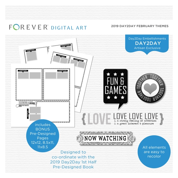 2019 Day2Day February Themes Digital Art - Digital Scrapbooking Kits