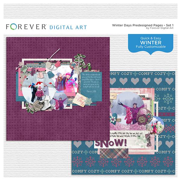 Winter Days Predesigned Pages - Set 1 Digital Art - Digital Scrapbooking Kits