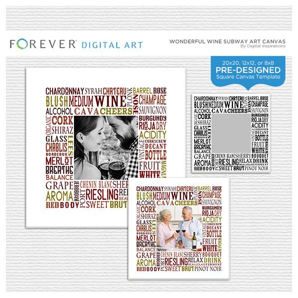 Wonderful Wine Subway Art Canvas Digital Art - Digital Scrapbooking Kits