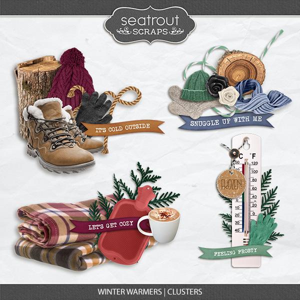 Winter Warmers Clusters Digital Art - Digital Scrapbooking Kits