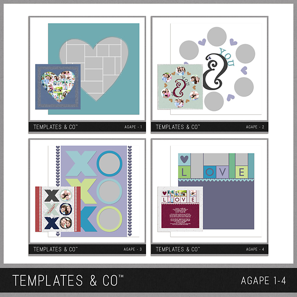 Agape 1-4 Digital Art - Digital Scrapbooking Kits