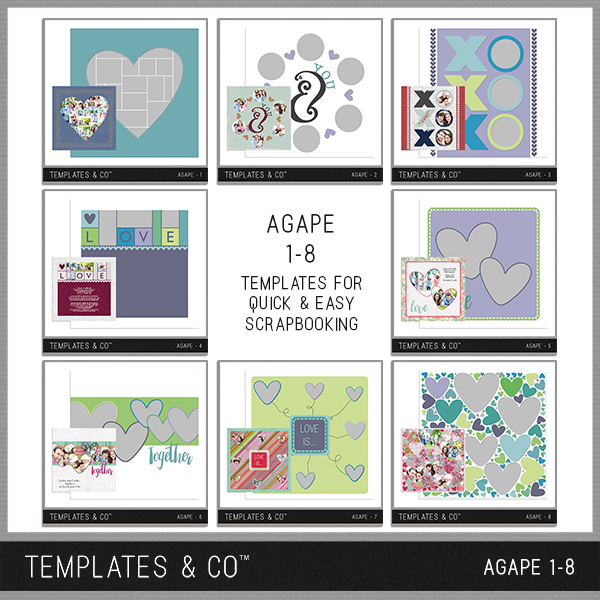 Agape 1-8 Digital Art - Digital Scrapbooking Kits