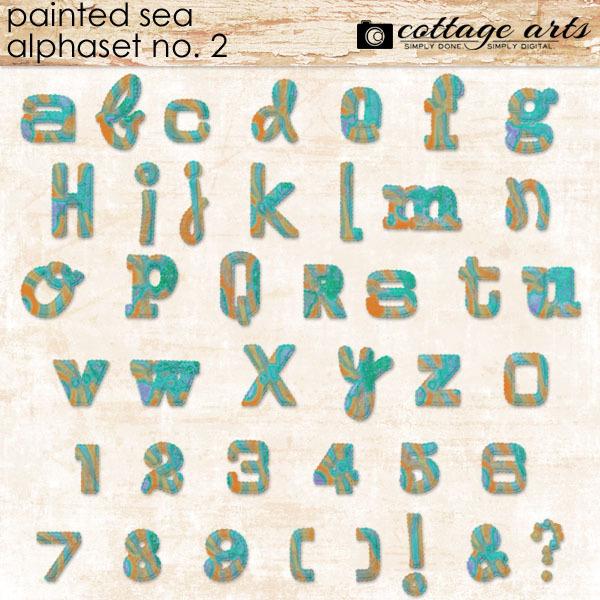 Painted Sea AlphaSet 2 Digital Art - Digital Scrapbooking Kits