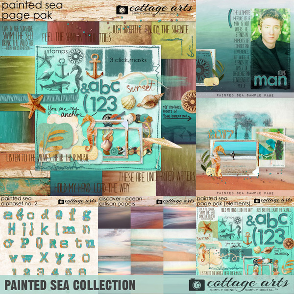 Painted Sea Collection Digital Art - Digital Scrapbooking Kits