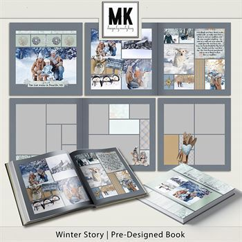 Winter Story Pre-designed Book Digital Art - Digital Scrapbooking Kits