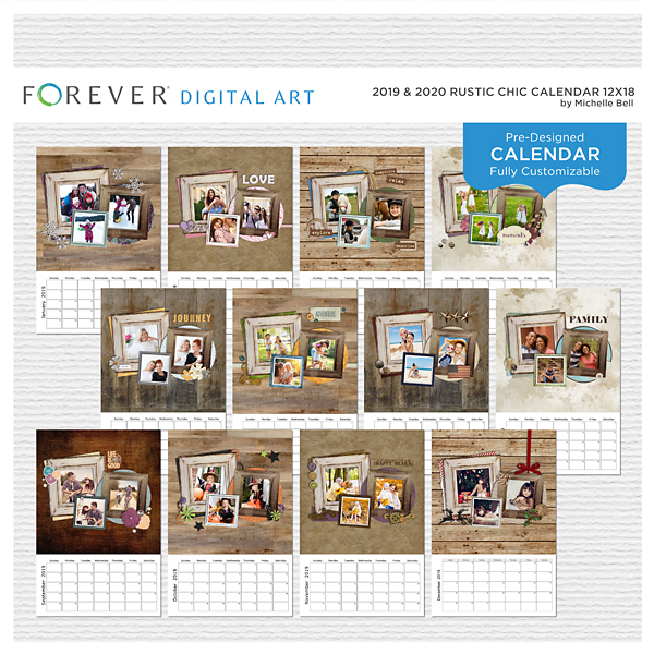 2019 & 2020 Rustic Chic Calendar 12x18 Digital Art - Digital Scrapbooking Kits