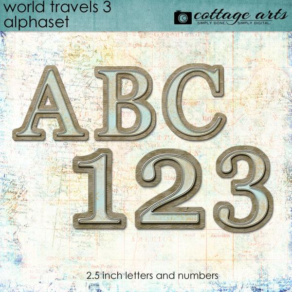 World Travels 3 AlphaSet Digital Art - Digital Scrapbooking Kits