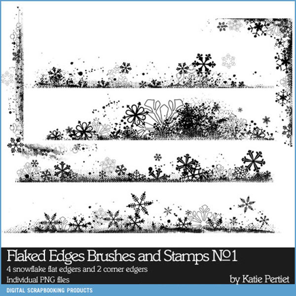 Flaked Edges Brushes And Stamps No. 01 Digital Art - Digital Scrapbooking Kits