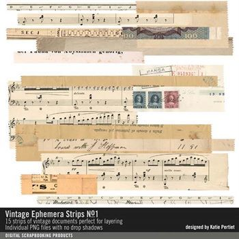 Vintage Ephemera Strips No. 01 Digital Art - Digital Scrapbooking Kits