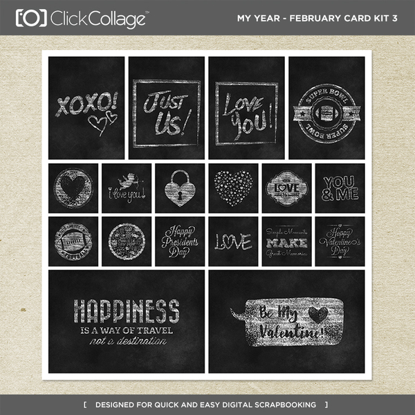My Year - February Card Kit 3 Digital Art - Digital Scrapbooking Kits