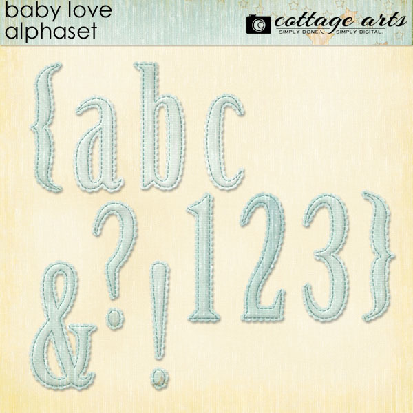 Baby Love Alphaset Digital Art - Digital Scrapbooking Kits