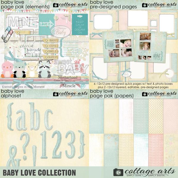 Baby Love Collection Digital Art - Digital Scrapbooking Kits