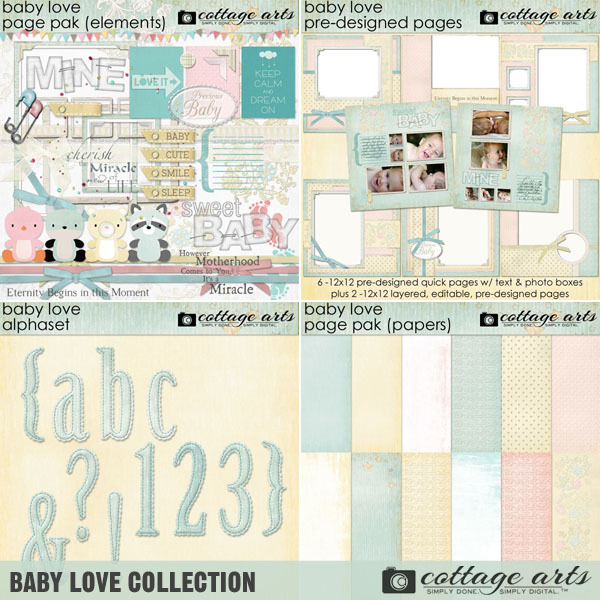 Baby Love Collection Digital Art - Digital Scrapbooking Kits