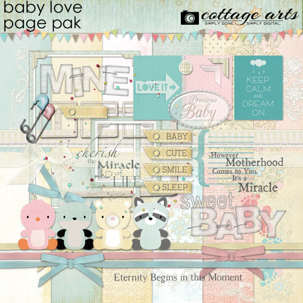 Baby Love Page Pak Digital Art - Digital Scrapbooking Kits
