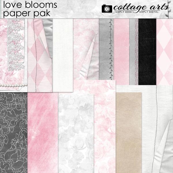 Love Blooms Paper Pak Digital Art - Digital Scrapbooking Kits