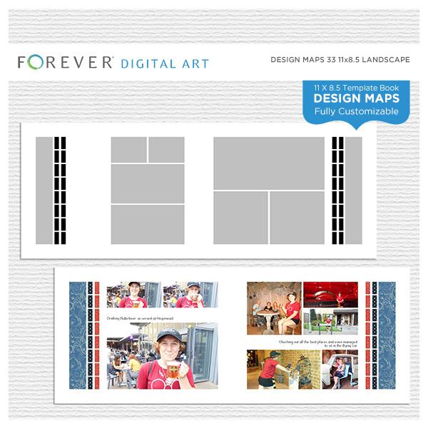 Forever Design Maps 33 11x8.5 Digital Art - Digital Scrapbooking Kits