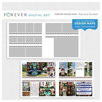Forever Design Maps From Us To You 12x12 Digital Art - Digital Scrapbooking Kits