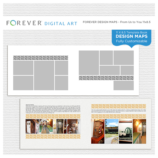 Forever Design Maps From Us To You 11x8.5 Digital Art - Digital Scrapbooking Kits