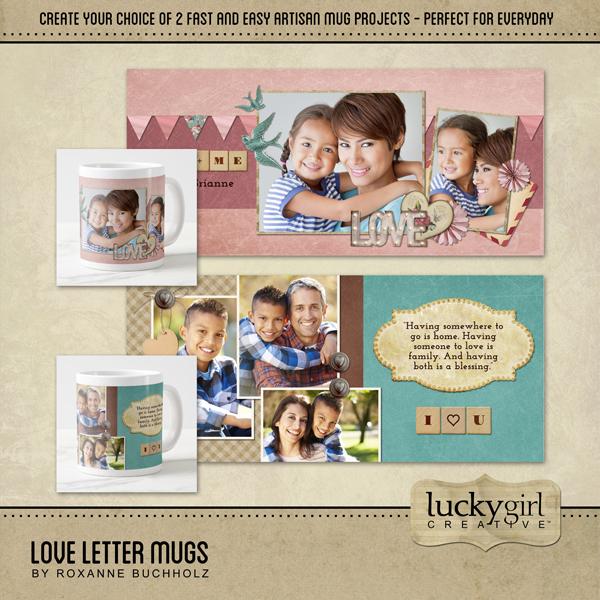 Love Letter Mugs Digital Art - Digital Scrapbooking Kits