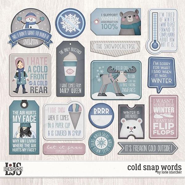 Cold Snap - Words Digital Art - Digital Scrapbooking Kits