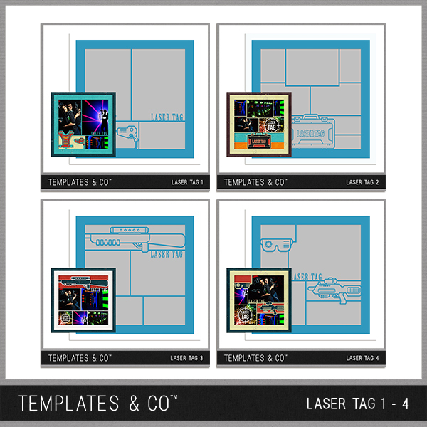 Laser Tag 1-4 Digital Art - Digital Scrapbooking Kits