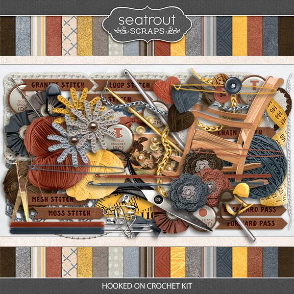 Hooked On Crochet Kit Digital Art - Digital Scrapbooking Kits