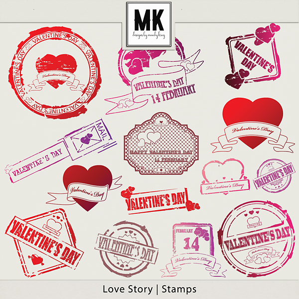 Love Story - Stamps Digital Art - Digital Scrapbooking Kits