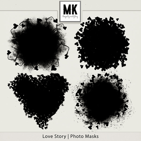 Love Story - Photo Masks Digital Art - Digital Scrapbooking Kits