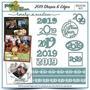 2019 Shapes & Edges Digital Art - Digital Scrapbooking Kits